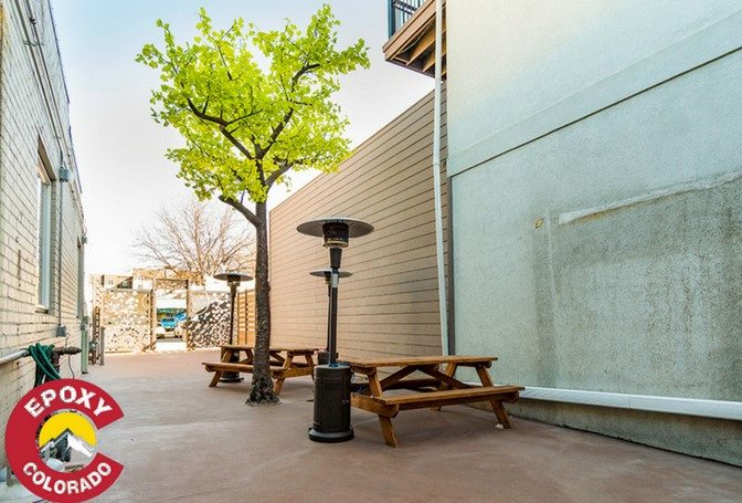 Quartz epoxy flooring for Loveland Taproom's patio