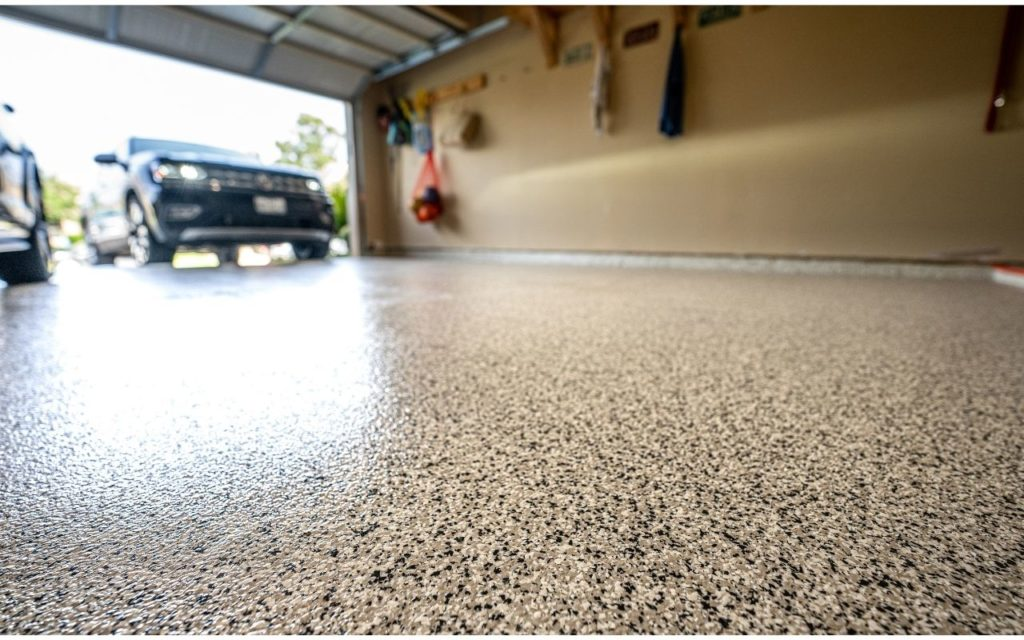 Close up of residential epoxy flooring